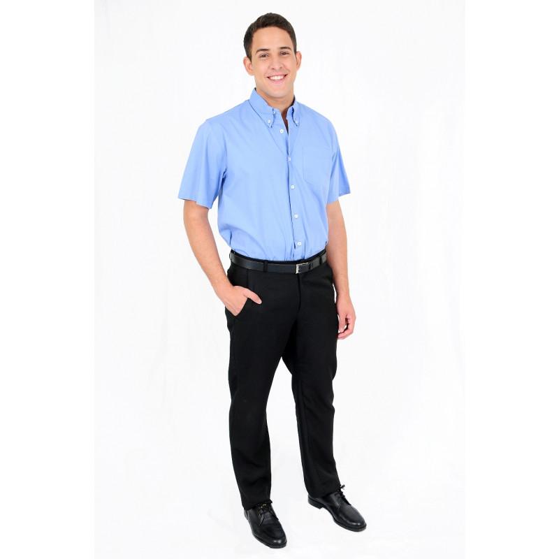 7a3d14a133 Camisa Social Manga Curta Azul 5417 | Dam Roupas | Roupas Profissionais