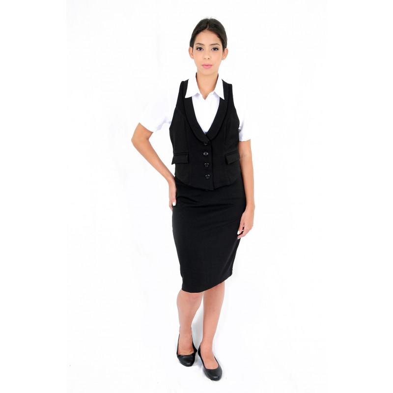 c61aa58469 Uniforme para Secretaria. Colete Feminino Preto Detalhe Cetim