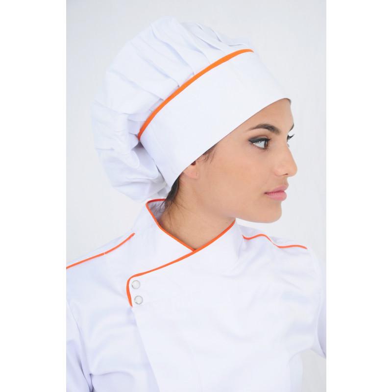 Chapeu de Chef Branco Friso Laranja  71af9fcc41b