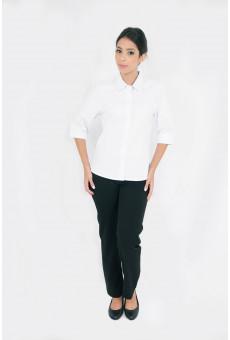 Blusa Social Feminina Manga ¾ Branco