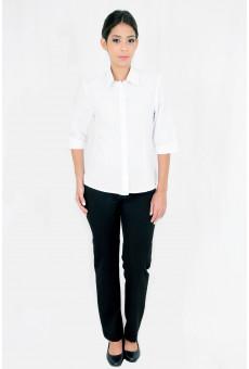 Blusa Social Feminina Manga ¾ Branca