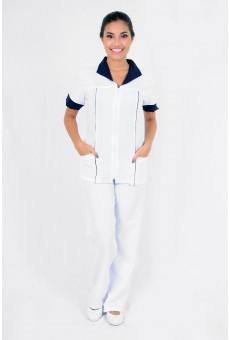 Conjunto Feminino Bata Com Ziper e Calça Branco