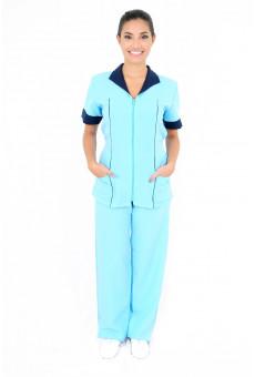 Conjunto Feminino Bata Com Ziper e Calça Azul Claro