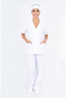 Conjunto Feminino Bata e Calça Branco