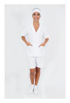 Conjunto Feminino Bermuda e Bata Manga Curta Branco