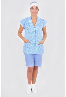 Conjunto Feminino Bata e Bermuda Floral Azul Claro