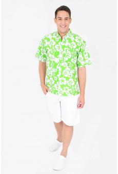 Camisa Social Masculina Manga Curta Floral Verde