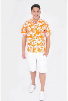 Camisa Social Masculina Manga Curta Floral Laranja