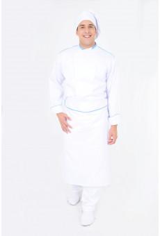 Avental Cintura Branco Com Friso Azul