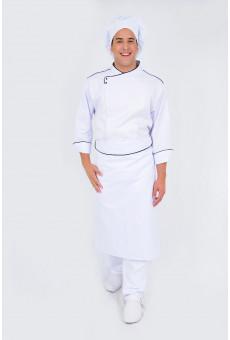 Avental Cintura Branco Com Friso Marinho