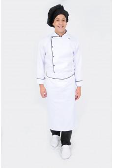 Avental Cintura Branco Com Friso Preto