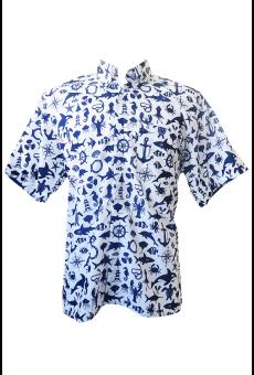 Camisa Social Masculina Manga Curta Vida no Mar