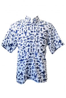 Camisa Social Manga Curta Estampada