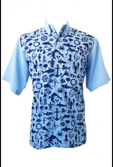 Camisa Social Masculina Manga Curta Fundo Do Mar
