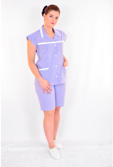 Conjunto Feminino Bata e Bermuda Xadrez Azul Royal